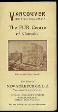 Fur Centre Of Canada Brochure 1940 Vancouver British Columbia Rare Vintage Orig