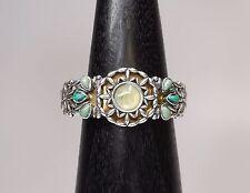 Carolyn Pollack Sterling Silver + Brass Gem Stones Hinged Cuff Bracelet