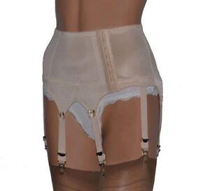 6 Strap Retro Suspender Belts High Waist Black, Beige, White Top Quality S- XXXL