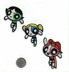 LOT of 3 Powerpuff Girls Iron on  patches embroidered new power puff girl Patch