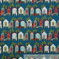 BonEful Fabric SCRAP Cotton Quilt Blue Red Beach Surf Board Hut Bike Palm Tree