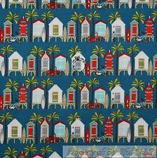 BonEful Fabric FQ Cotton Quilt Blue Red Beach Boy Surf Board Hut Bike Palm Tree