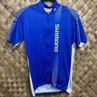Shimano Large Blue White Full Zip Cycling Jersey