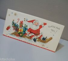 Vtg Christmas Card Coronation Collection Santa Sled Gifts Tree Candy 50's