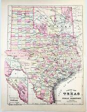 New Listing1881 Texas Map Indian Territory Austin San Antonio Galveston Goliad El Paso Rare