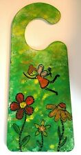 Hand Stamped and Painted Double Sided Girls Kids Fairy Door Hanger Decoration
