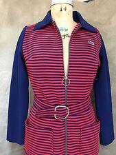 Vintage LACOSTE DAVID CRYSTAL Navy Blue Red STRIPE PREPPY DRESS Belt M ZIPPER
