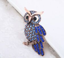 New Gold Plated Blue Crystal Owl Bird Clothing Brooch Pin Unisex Free Gift Bag