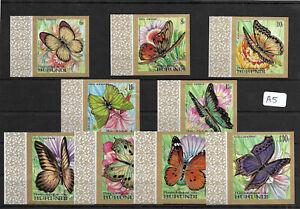 SMT,1968, BURUNDI Butterflies set of nine airmail stamps, MNH imperforate