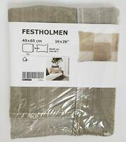 "Ikea Festholmen Cushion Cover Beige Zipper 16 x 26"" 40 x 65 cm"