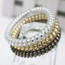 10x Women Gold/Silver Elastic Rubber Telephone Wire Hair Bands Ponytail Holder