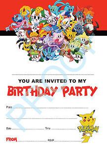 #50 POKEMON Pack of 10 kids children birthday party INVITATIONS