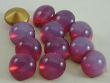 12 Vintage Glass Rhinestones Round Mauve Opal Dome Foiled PB Germany 48ss G2-2D