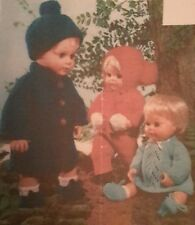 Vintage Knitting Pattern - DOLLS CLOTHES - 12 14 16 inch 4 Ply & Double Knitting