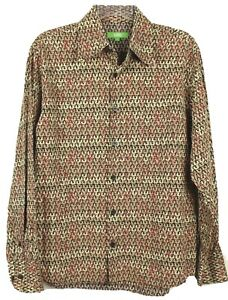 Bamboo Mens Multi Color  Long Sleeve Button up Cotton Shirt Size S