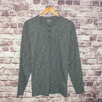BONOBOS Slim Fit Men's Long Sleeve Henley Shirt Gray Striped Size Large