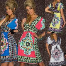 Fashion Sexy Women Floral Sleeveless Beach Boho Maxi Sundress Mini Dress US