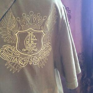 Christian Audigier embroidered mans xxl shirt green