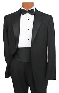 Boys Size 10 Black Tuxedo Jacket with Pants & Shirt Wedding Halloween Costume