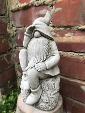 Thinking searching Dwarf, gnome stone garden ornament pixie beard hat sat