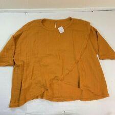 Free People Oversized BOHO Blouse Top Fall Autumn Orange NWT XS