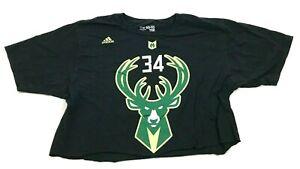 Adidas Giannis Antetokounmpo Milwaukee Bucks Shirt Cut Off Crop Top Size Large L