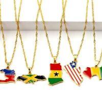 Unisex afrikanische Karte Flagge Halskette Anhänger Kette Farbe goldene Sch N9J7