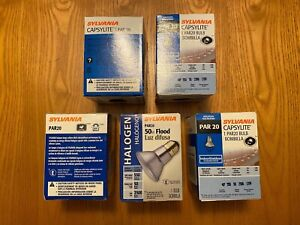 Lot of 5 SYLVANIA CAPSYLITE PAR 20 HALOGEN 50 WATT FLOOD BULBS New in sealed box