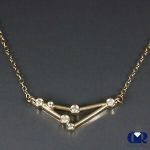 "Natural 0.20 Carat Diamond Capricorn Zodiac Necklace Pendant 14K Yellow Gold 17"""