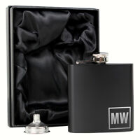 Personalised Initials Black Hip Flask Gift Idea for him stainless steel - 6oz