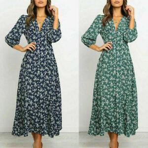 Womens Long Dress Floral Beach Slim Summer Boho 3/4 Sleeve Button Maxi Dress