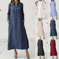 Women Cotton Long Sleeve Plain Casual Loose Oversize Maxi Shirt Dress Plus Size