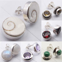 925 Sterling Silver ROUND SHAPE Genuine GEMSTONE New Studs Earrings Collection