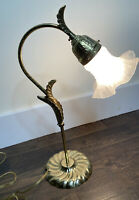 "Vintage Gooseneck Lamp Brass With Leaves Frosted Ruffled Glass Shade 20"" Tall"