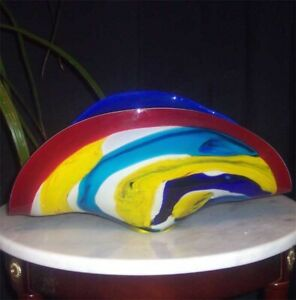 Multi-Color Art Deco Banana Fan Bowl Art Glass