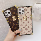 For Samsung S21 S20 S10 S9 S8 Note20 10 9 Luxury Retro Leather Metal Square Case