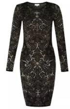 HOBBS Jacquard Damask Black And Metallic EVENING Party Dress UK10