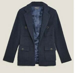 M&S Tweed Boucle Straight Fit Blazer Navy Rrp £79 size 10-14