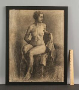 1920s Antique ELANOR COLBURN Charcoal Drawing, Nude Woman Portrait, NR