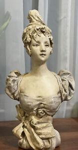 Nordstrom Chalk Bust Statue Figurine Woman, Art Nouveau Small Indulgence