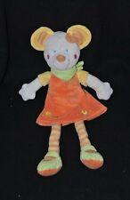 Peluche doudou souris MOTS D'ENFANTS robe orange bandana vert poussin 32 cm TTBE