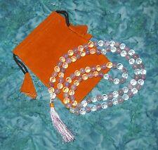 Amethyst & Clear Quartz Beads Prayer Mala & Drawstring bag set NEW Sobriety