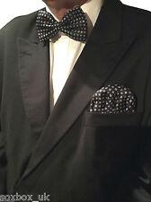 Mens Formal Bow Tie Ready Made Pocket Hankerchief Set Polka Dot Navy