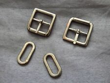 Pair of small used metal square bar buckles with loop attachments 2.5cm x 2.5cm