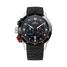 NEW Edox Chronorally 1 Swiss Chronograph Rubber Strap Watch 10305 3NR NR