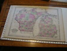 vintage map: 1864 Johnson's Atlas Large Map of WISCONSIN & MICHIGAN
