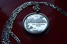 """900 SILVER PROOF WASHINGTON Quarter Bezel on a 30"""" 925 Sterling Silver Chain"""