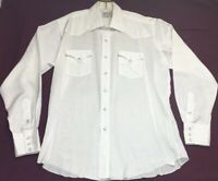 Vintage H Bar C Men's  Ranchwear Pearl Snap Western Shirt White Long Tail