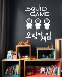 Squid Game Wall Stickers Famous TV Series Korean Logo for Fan Club Vinyl Decals