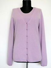 FTC Fair Trade Cashmere 2in1 Purple 100% Cashmere Cardigan+Tank Top SET, Size:L